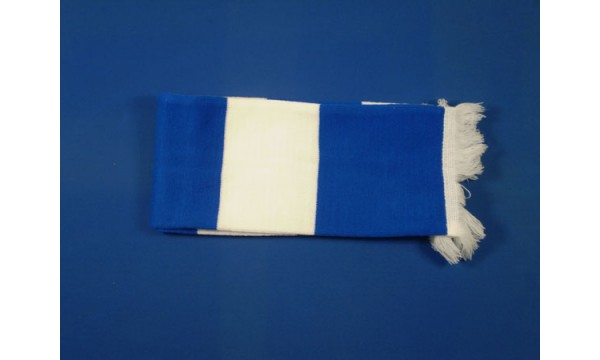 Royal Blue and White Bar Scarf