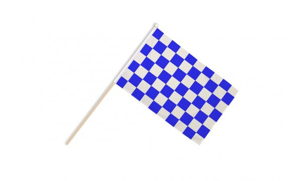 Blue and White Check Hand Flags