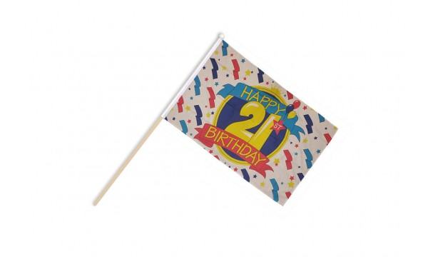 Happy 21st Birthday Hand Flags