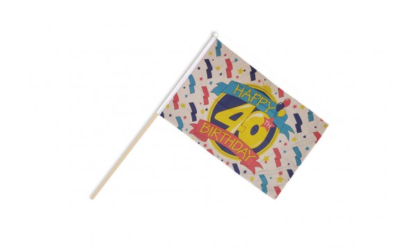 Happy 40th Birthday Hand Flags