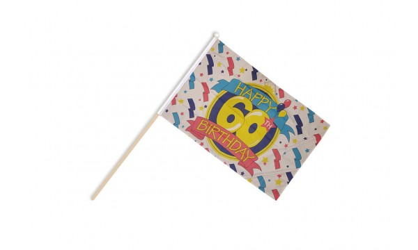 Happy 60th Birthday Hand Flags