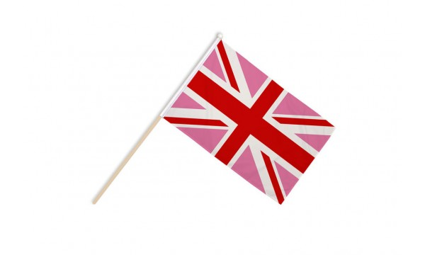 Union Jack Pink Hand Flags