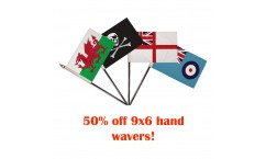 clearance 9x6 hand flags- 50% off