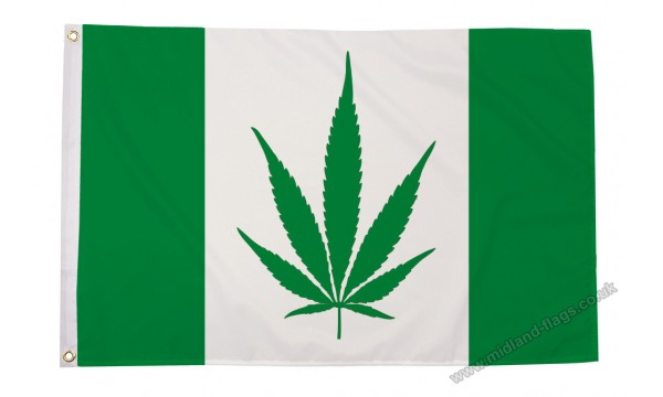 Canada with Marijuana (Green) Flag