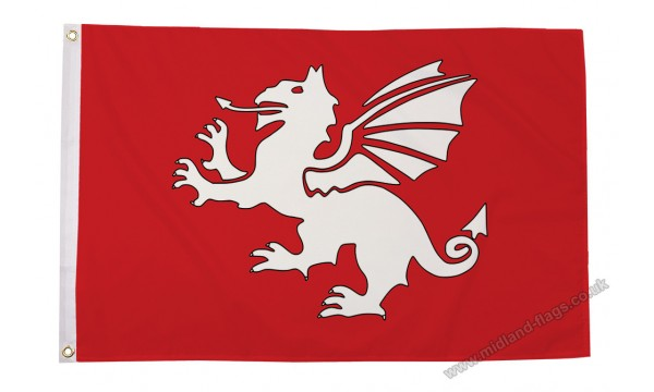 English White Dragon Flag (C)