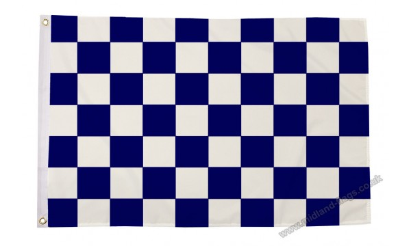 Navy Blue and White Check Flag