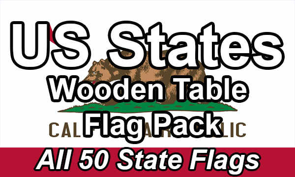 US States - Small Wooden Table Flag Pack