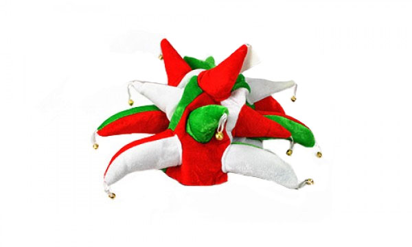 Red, White and Green Jester Hat