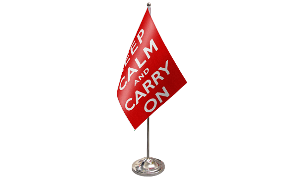 Keep Calm And Carry On (Red) Satin Table Flag