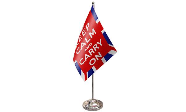 Keep Calm And Carry On (UK) Satin Table Flag