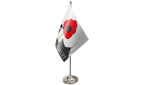 Lest We Forget (Navy) Satin Table Flag
