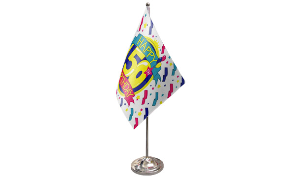 Happy 50th Birthday Satin Table Flag