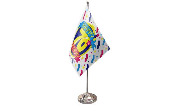 Happy 70th Birthday Satin Table Flag