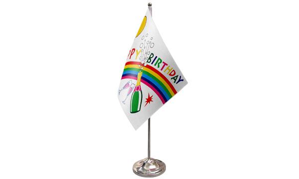 Happy Birthday Bottle Satin Table Flag