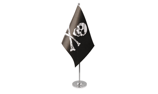 Skull and Crossbones Satin Table Flag