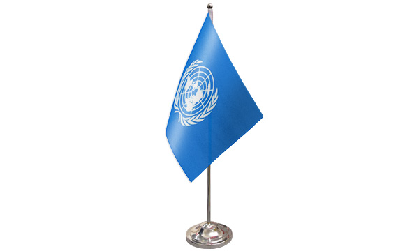 United Nations Satin Table Flag