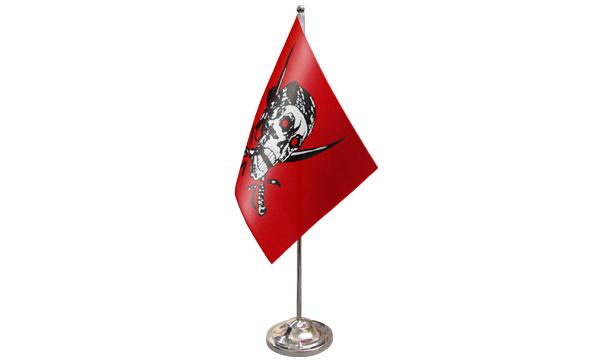 Red Skull Satin Table Flag
