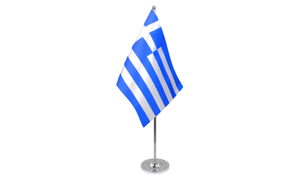 Greece Satin Table Flag