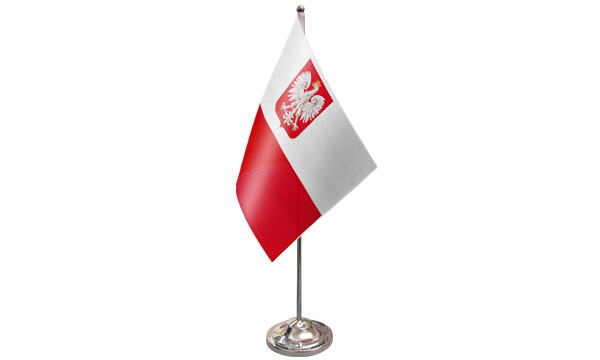 Poland Crest Satin Table Flag