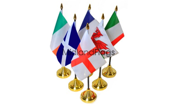 Six Nations Rugby - Plastic Table Flag Pack