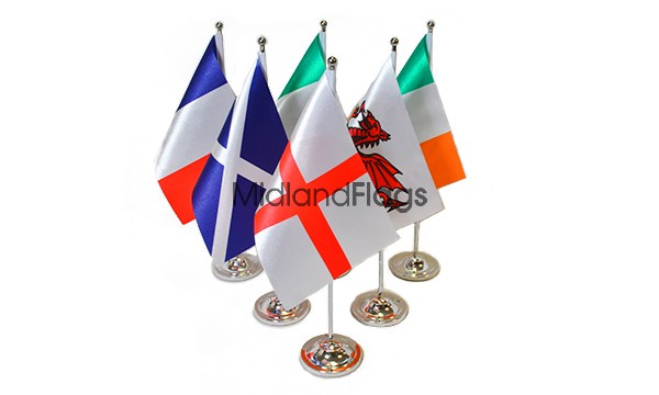 Six Nations Rugby - Satin Table Flag Pack