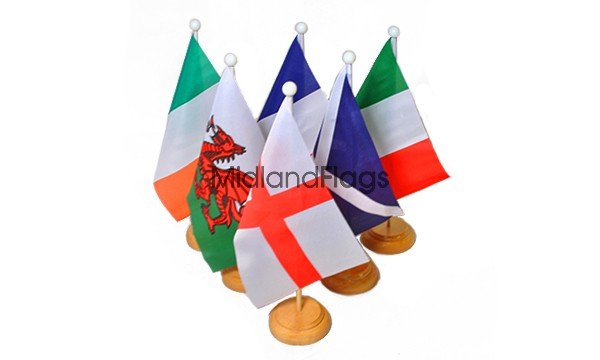 Six Nations Rugby - Small Wooden Table Flag Pack