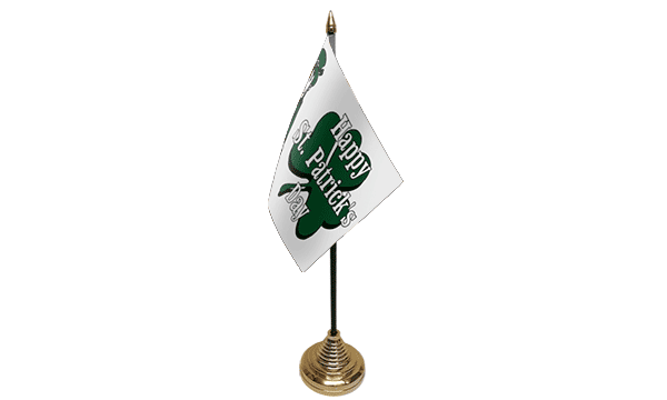 Happy St Patricks Day (White) Table Flags