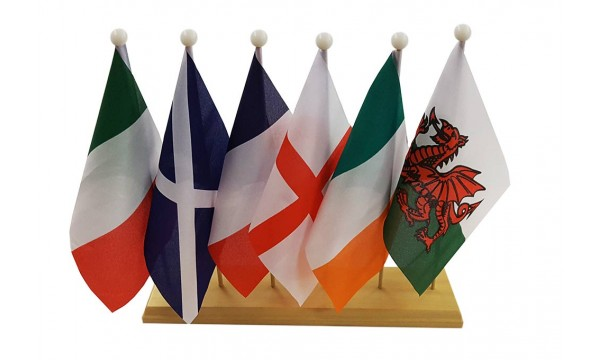 Six Nations Rugby - Table Flag Wooden Plinth Pack