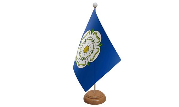 Yorkshire New Small Flag with Wooden Stand