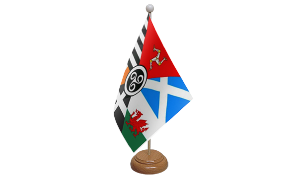 Celtic Nations Small Flag With Wooden Stand