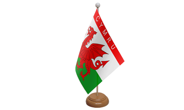 Cymru Small Flag with Wooden Stand