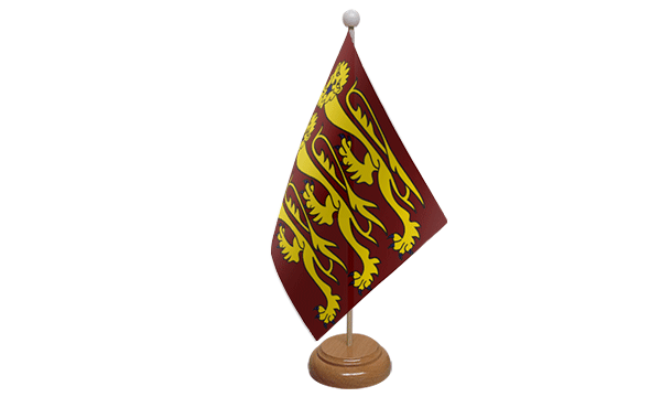 Richard The Lionheart Small Flag with Wooden Stand