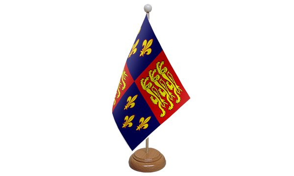 Royal Banner 16th Century Small Flag With Wooden Stand