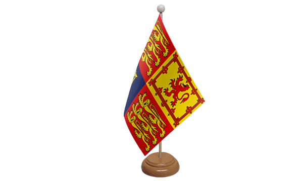 UK Royal Standard Small Flag with Wooden Stand