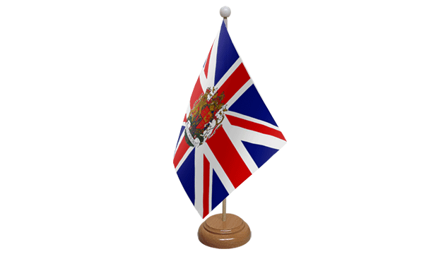 Union Jack Crest Small Flag with Wooden Stand