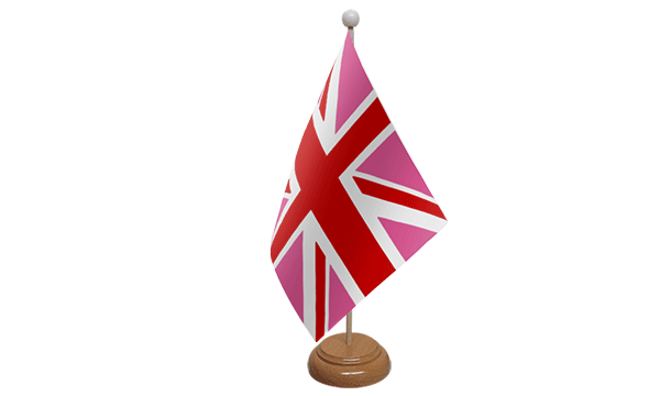 Union Jack Pink Small Flag with Wooden Stand