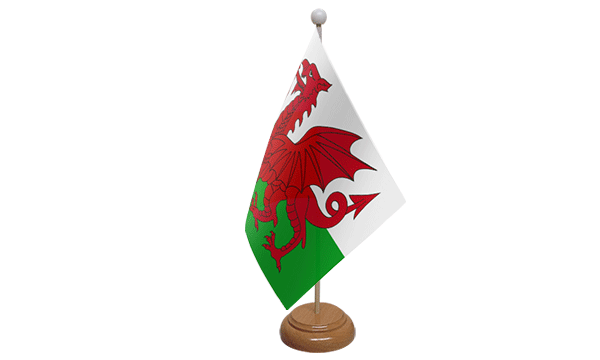 Wales Small Flag with Wooden Stand