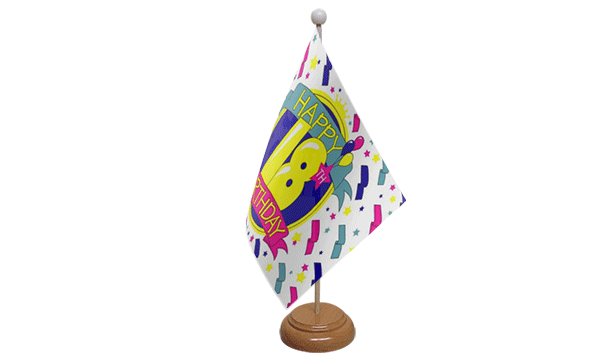 Happy 18th Birthday Small Flag with Wooden Stand