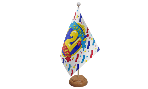 Happy 21st Birthday Small Flag with Wooden Stand