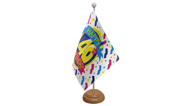 Happy 40th Birthday Small Flag with Wooden Stand