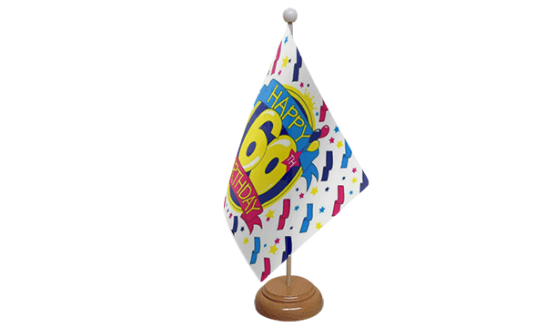 Happy 60th Birthday Small Flag with Wooden Stand