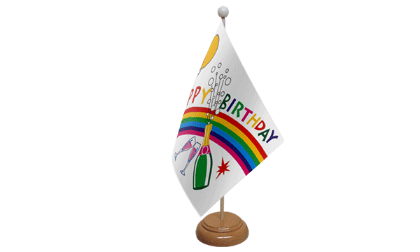 Happy Birthday Bottle Small Flag with Wooden Stand