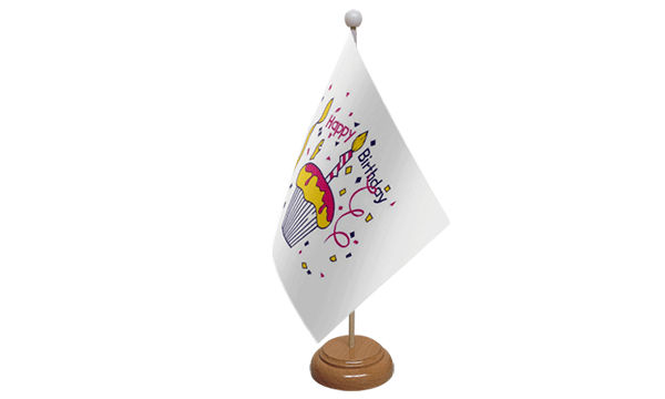 Happy Birthday Cake Small Flag with Wooden Stand