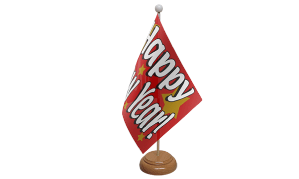 Happy New Year Small Flag with Wooden Stand