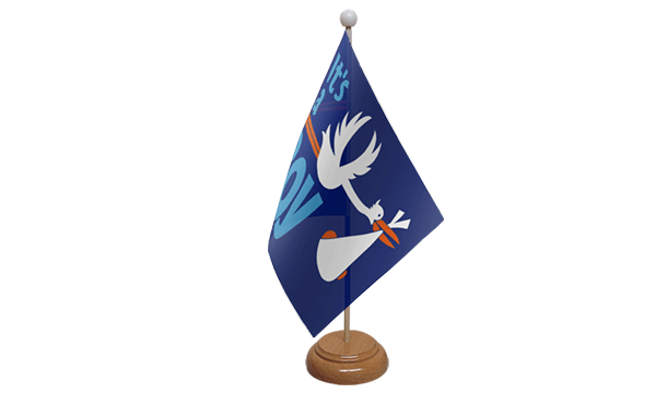 Its a Boy Small Flag with Wooden Stand