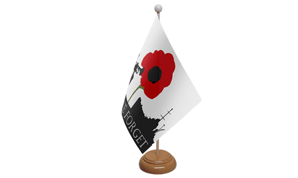 Lest We Forget (Navy) Small Flag with Wooden Stand
