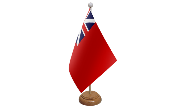 Red Ensign Colonial Small Flag With Wooden Stand
