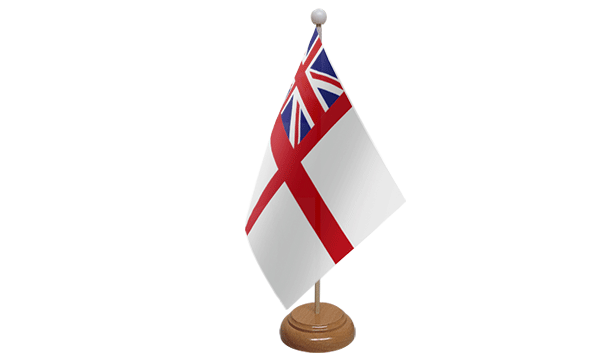 White Ensign Small Flag with Wooden Stand