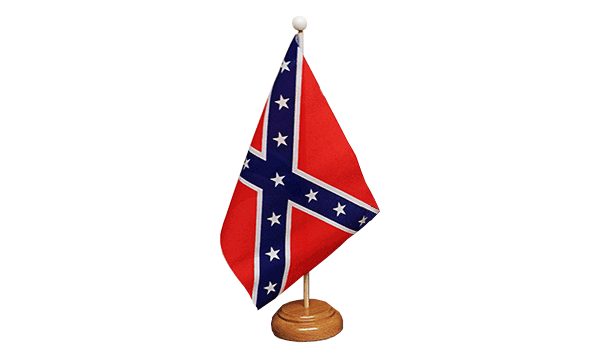 Confederate Small Flag with Wooden Stand