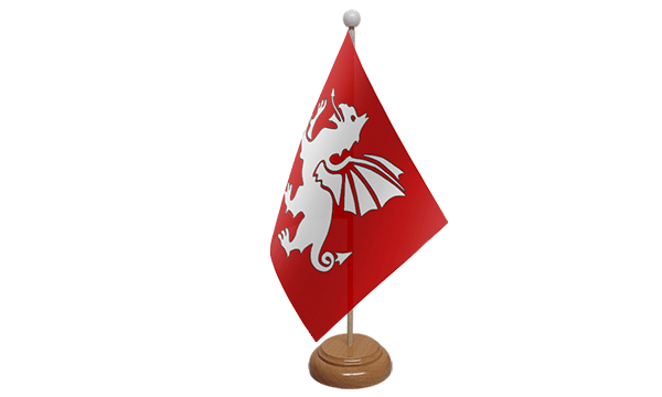 English White Dragon Small Flag with Wooden Stand (C)